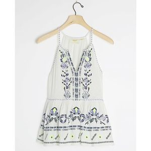 Anthropologie Maeve Neela Embroidered Babydoll Top